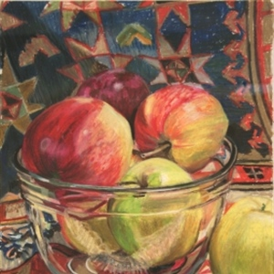 Apples in a Glass Bowl with Carpet Fringe