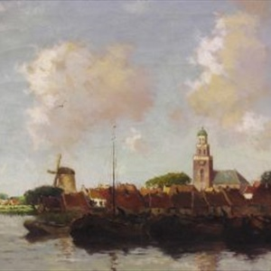 """Dutch Scene with Windmill"""