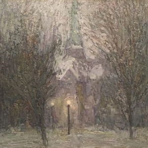 Church in Park, Snowstorm