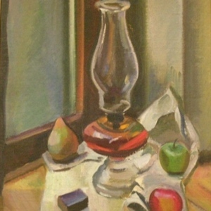 Still Life with Oil Lamp and Apples