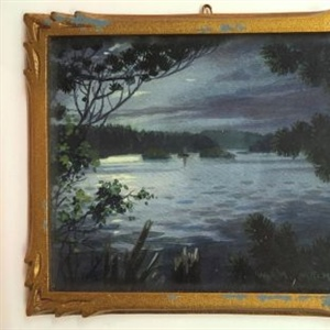 """Moonlight on Lake Padineau, near Montebello, P.Q."" (frame)"