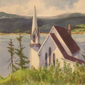 """White Church at the Water"""