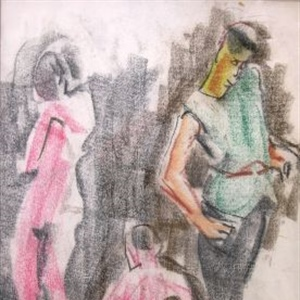 """Figure Study Man with Two Female Nudes F204)"""